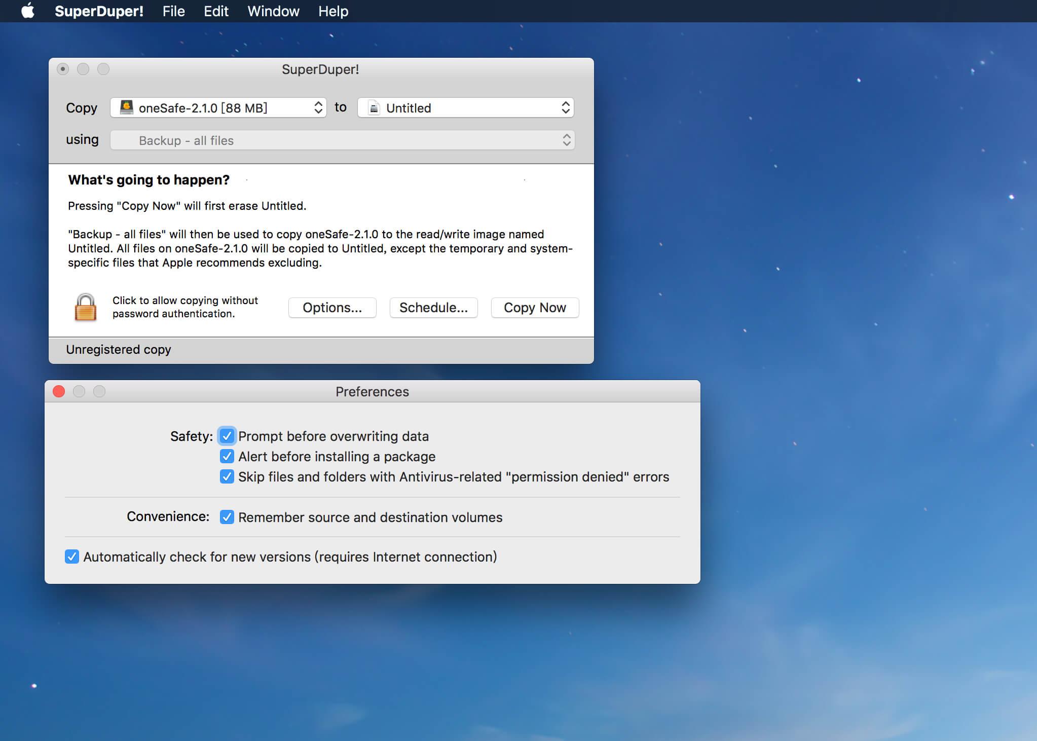 SuperDuper! v3.2.5 Mac数据备份恢复工具